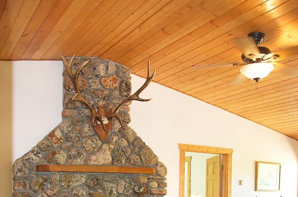 Little Antlers Cabin fireplace and vaulted ceiling