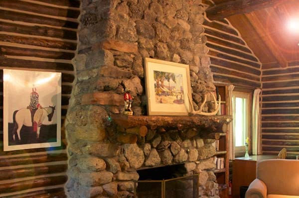 Moss Cabin fireplace