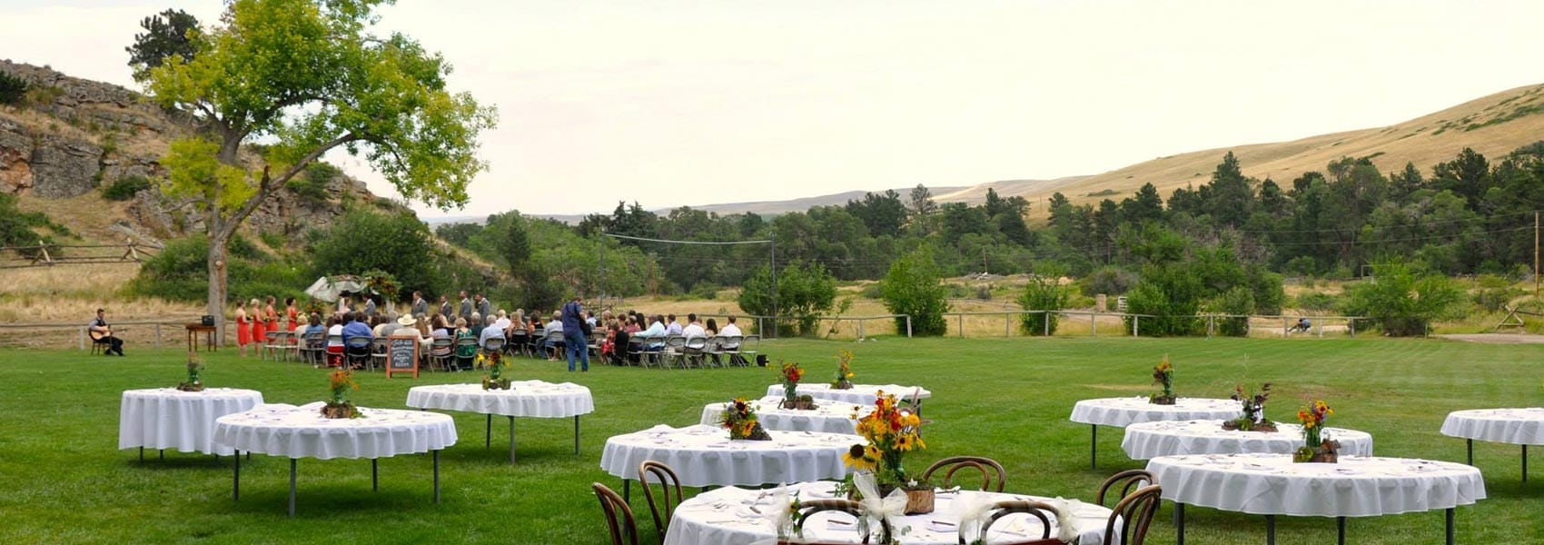 Wedding reception tables set up outside