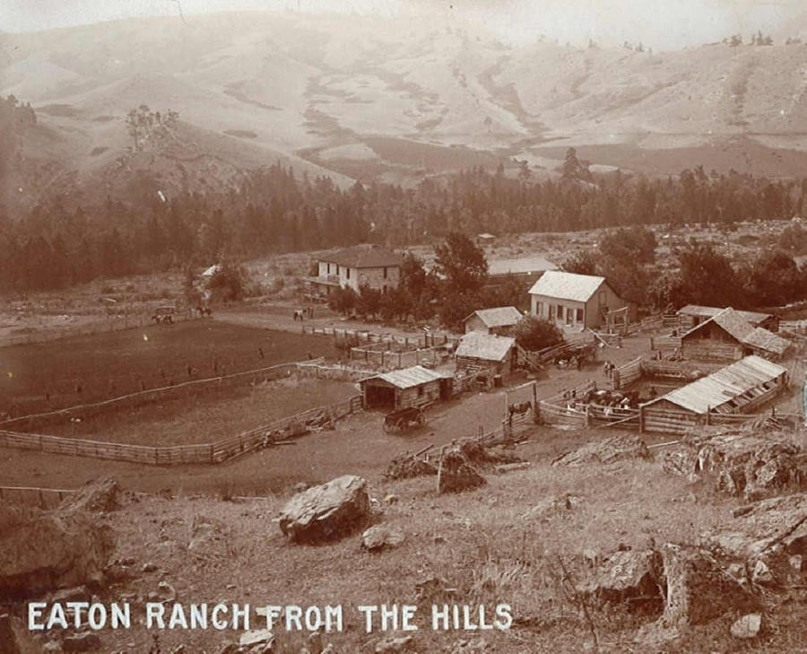 Old photo of guests at oldest dude ranch in america