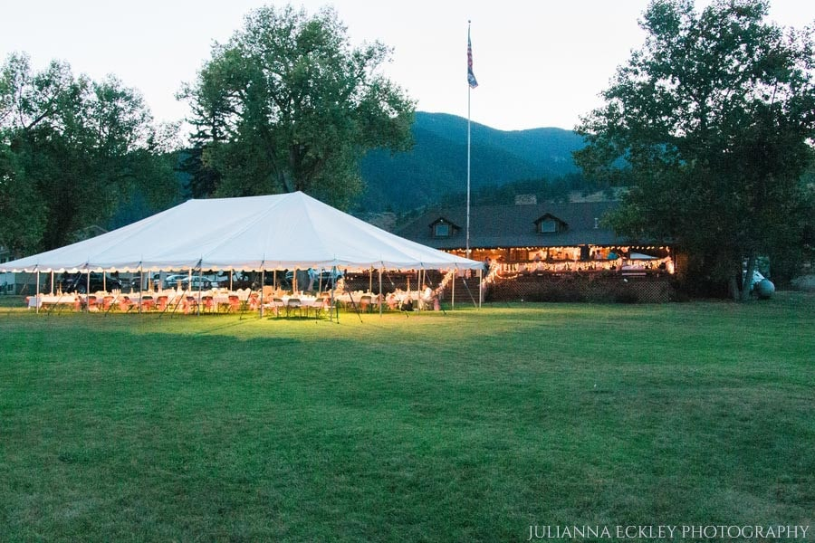 Sheridan WY Wedding Venues: Outdoor tent on lawn