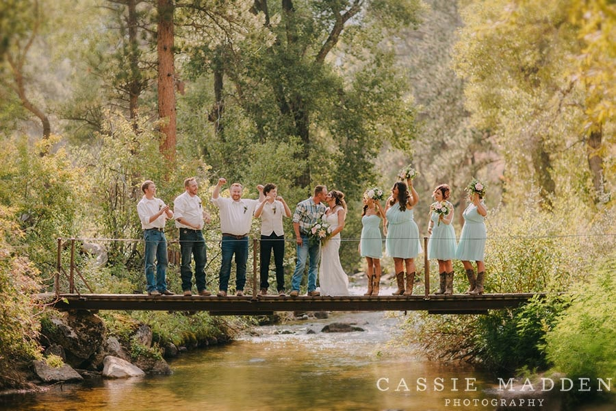 wedding party at Eatons ranch on bridge
